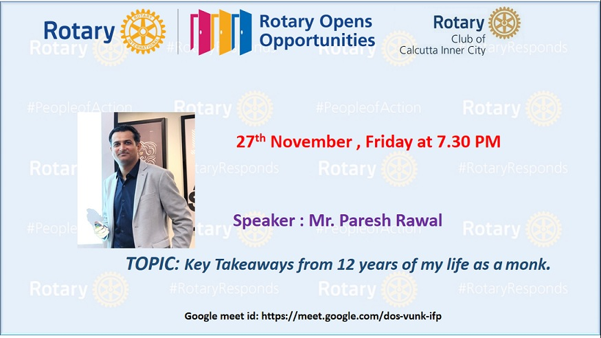 Webinar with Rotary Club, Kolkata